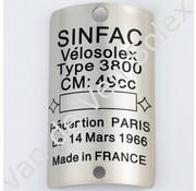 Type plate Solex 3800 Sinfac