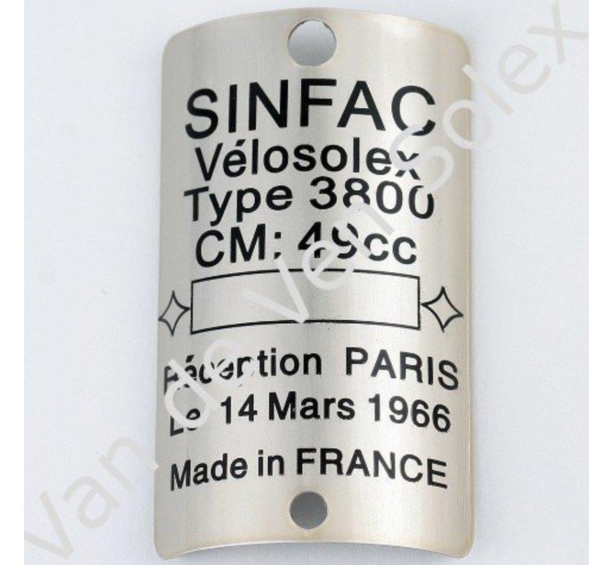 Type plaatje Solex 3800 Sinfac
