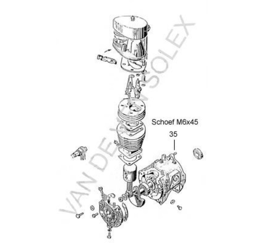 35. Schroef m6 45 solex standaard