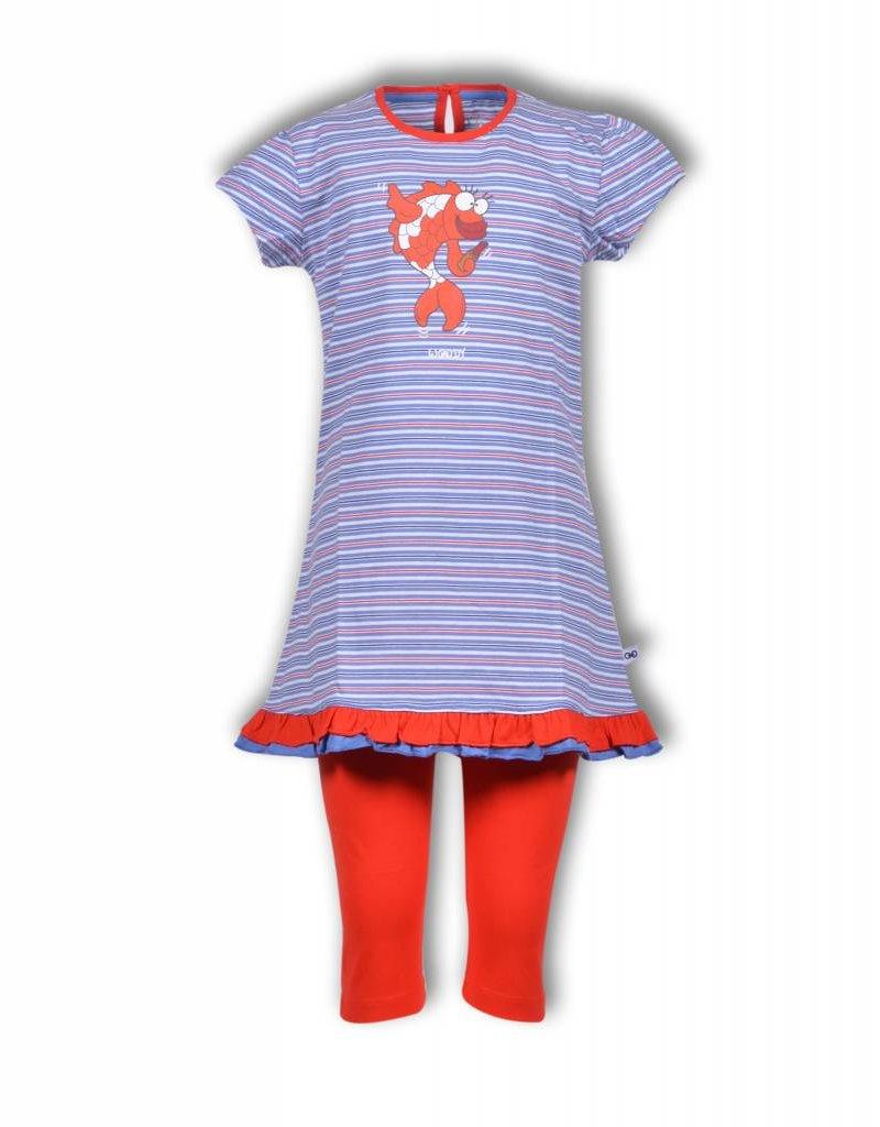 Woodymeisjes Dames Pyjama Multicolor Koi Gestreept Kastaar