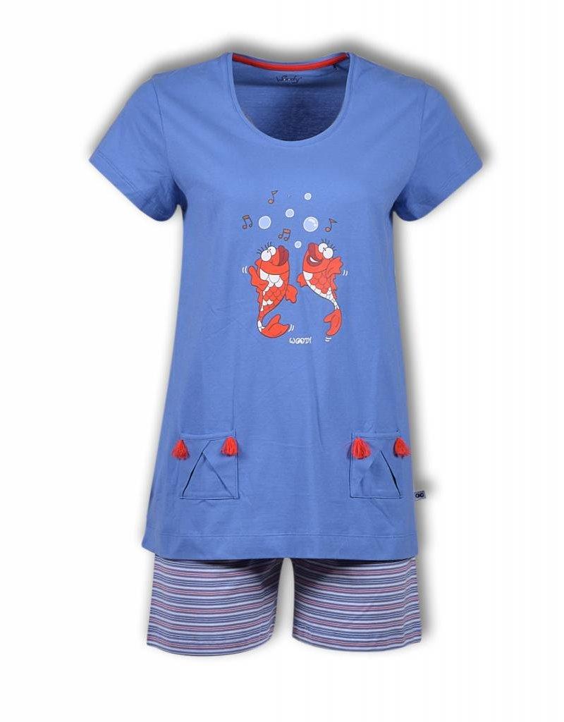Woodymeisjes Dames Pyjama Blauw Kastaar