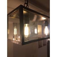 Landelijke hanglamp 150cm met glas ketting, 5xE27