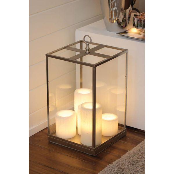 Lampe à poser transparente verre bronze 4 bougies