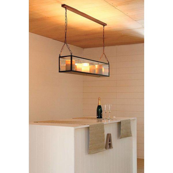 Bronzen hanglamp met kaarsen LED 100, 125 of 150cm