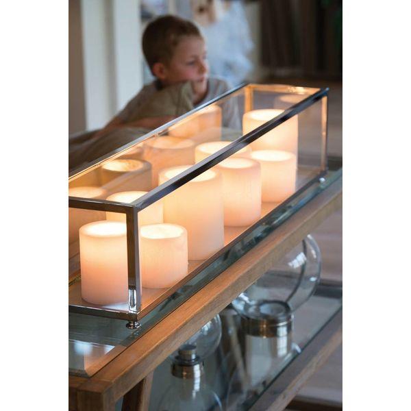 Lampe buffet en verre rustique avec bougies LED