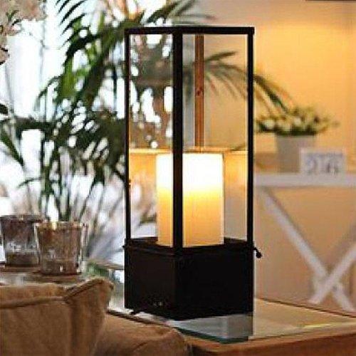 Lampe à poser verre bougie LED bronze, blanc, chrome, nickel