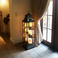 Lampadaire lanterne avec bougies bronze intérieur ou extérieur