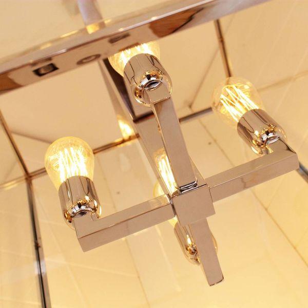 Lustre lanterne rustique avec verre 4xE27