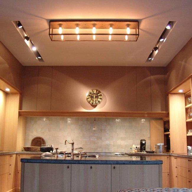 Plafonnier rustique verre bronze, nickel ou chrome