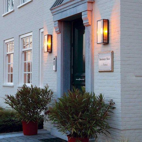 Eclairage façade extérieur verre rustique bronze, chrome, nickel, laiton