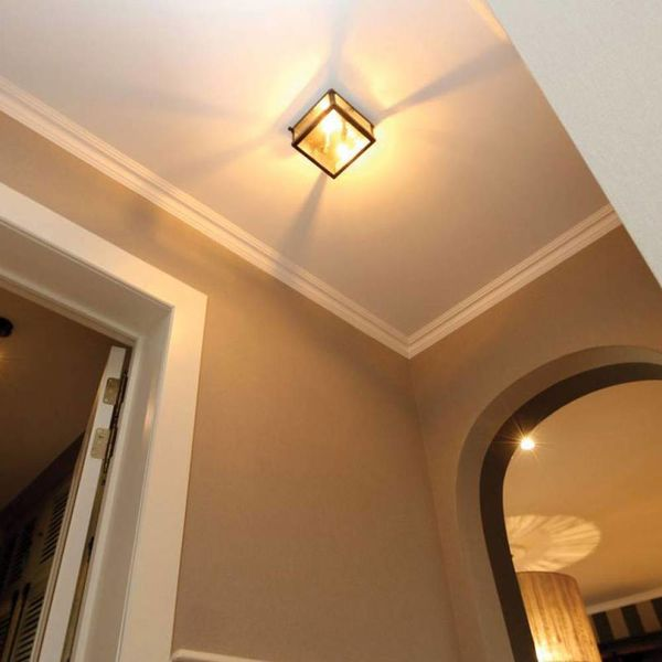 Kleine plafondlamp landelijk brons, nikkel, chroom
