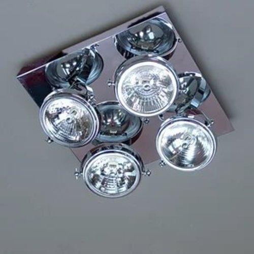 Luminaire 4 spots orientables rustique chic carré
