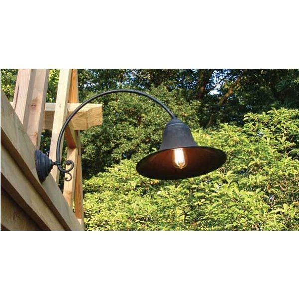 Wandlamp boog landelijk 30cm of 37cm Ø brons buiten