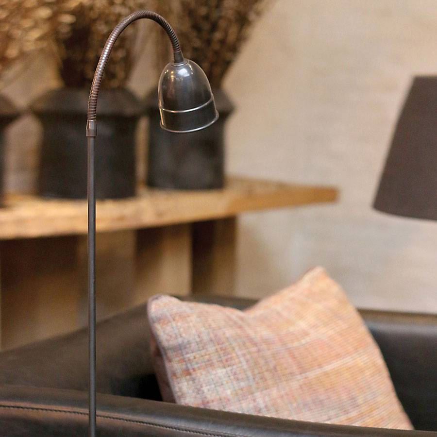 Lampadaire mobile liseuse rustique bronze, nickel, chrome