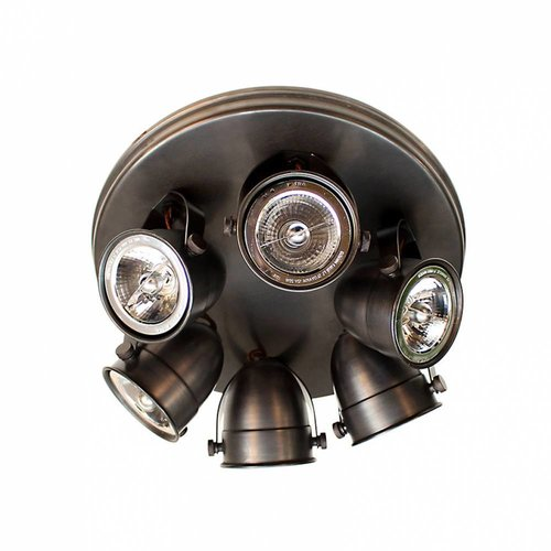 Plafonnier 6 spots rustique chic bronze, nickel, chrome