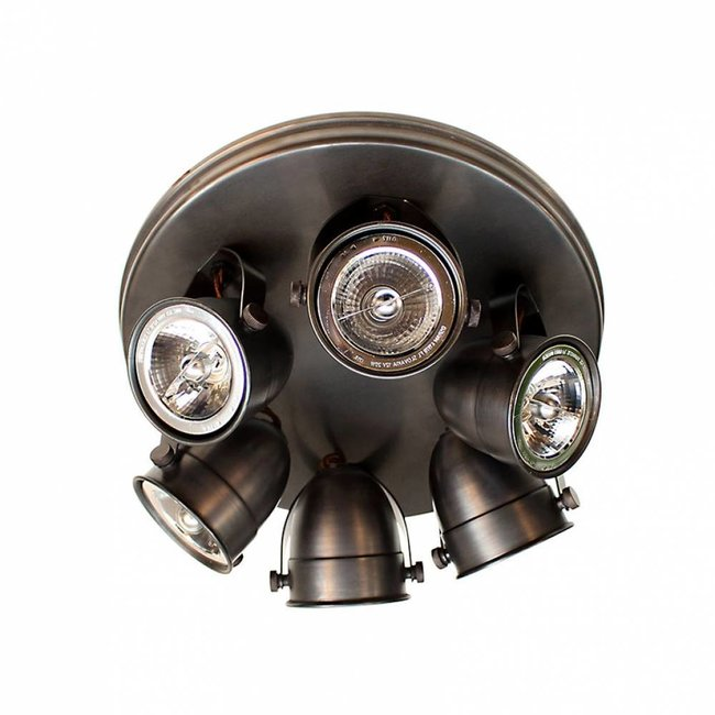 Plafonnier 6 spots rustique chic bronze, nickel, chrome