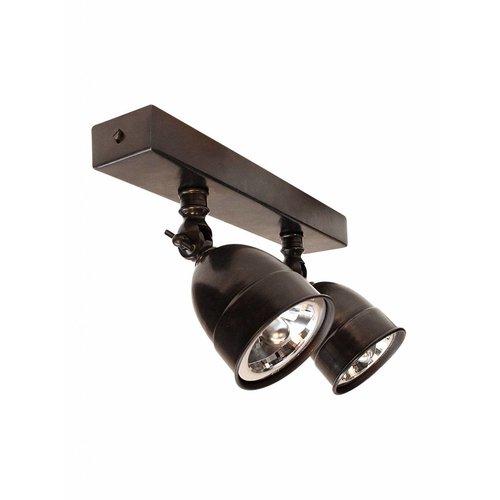 Plafondlamp brons, nikkel, chroom landelijk, 2 spots