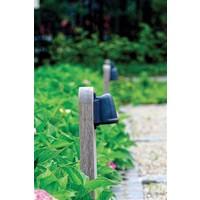 Borne bois jardin rustique teak bronze