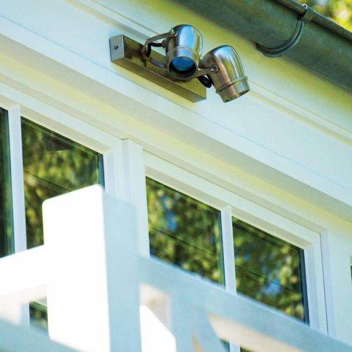 Wandlamp voor buiten landelijk 2 spots brons, nikkel, chroom