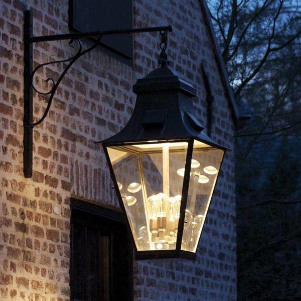 Lanterne murale rustique extérieur bronze