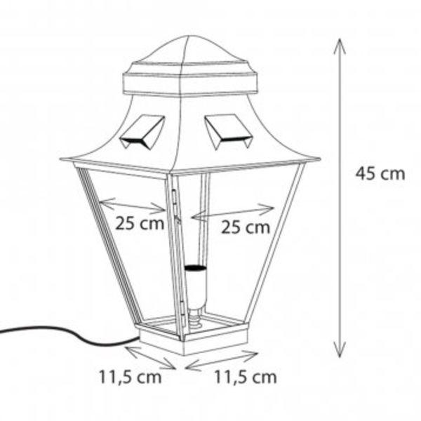 Buitenlamp sokkel brons landelijk 45 cm, 60 cm, 90 cm H