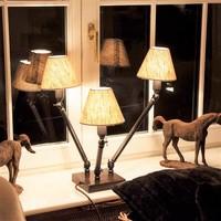 Lampe de chevet rustique bronze 3 abats-jour