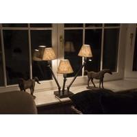 Bijzondere tafellamp brons, landelijk 3 x lampenkap