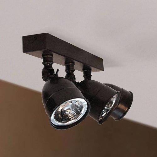 Plafondlamp 3 spots landelijk brons, nikkel, chroom