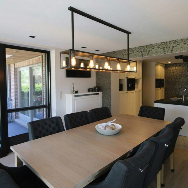 Suspension salle à manger rustique bronze verre 1,5m