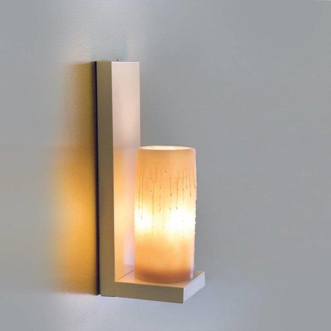 Design wandlamp met kaars flikkerend landelijk LED