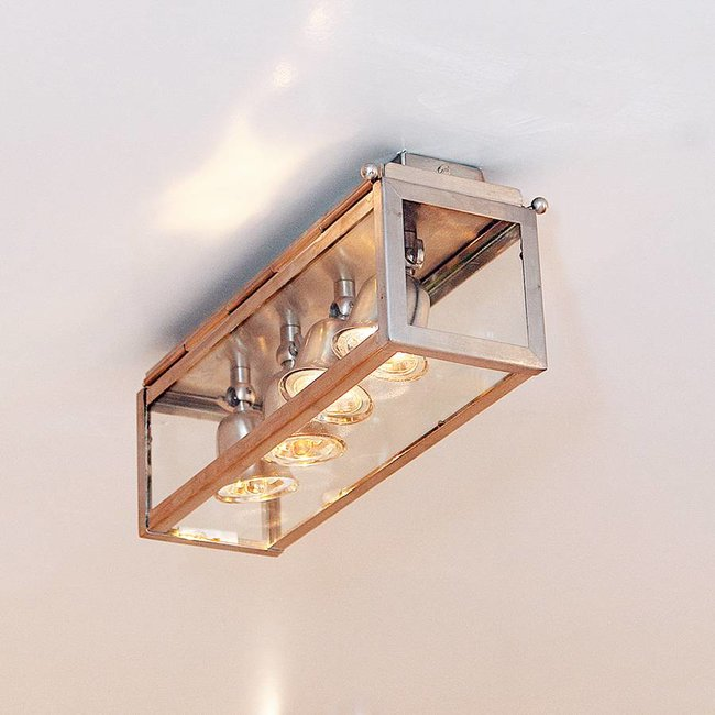 Plafonnier 4 lampes rustique chic bronze, nickel, chrome