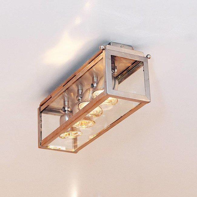 Plafonnier 4 lampes rustique chic bronze, nickel, chrome