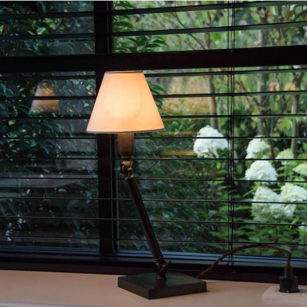 Tafellamp brons met kap landelijk 30, 38 of 46 cm H