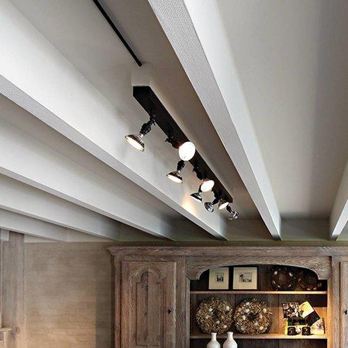 Lange plafondlamp landelijk brons, nikkel, chroom 2m
