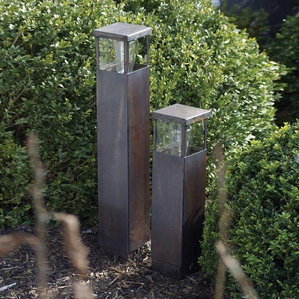 Poteau lumineux rustique bronze, nickel, chrome