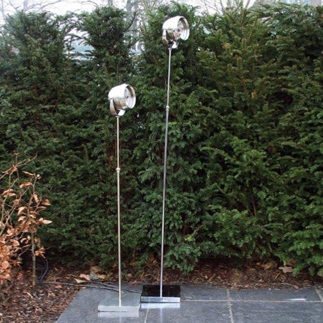 Staande lamp voor buiten landelijk brons, nikkel, chroom