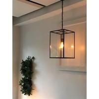Lustre campagne chic lanterne verre bronze, chrome, nickel