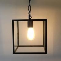 Lanterne suspendue intérieur verre bronze, chrome, nickel