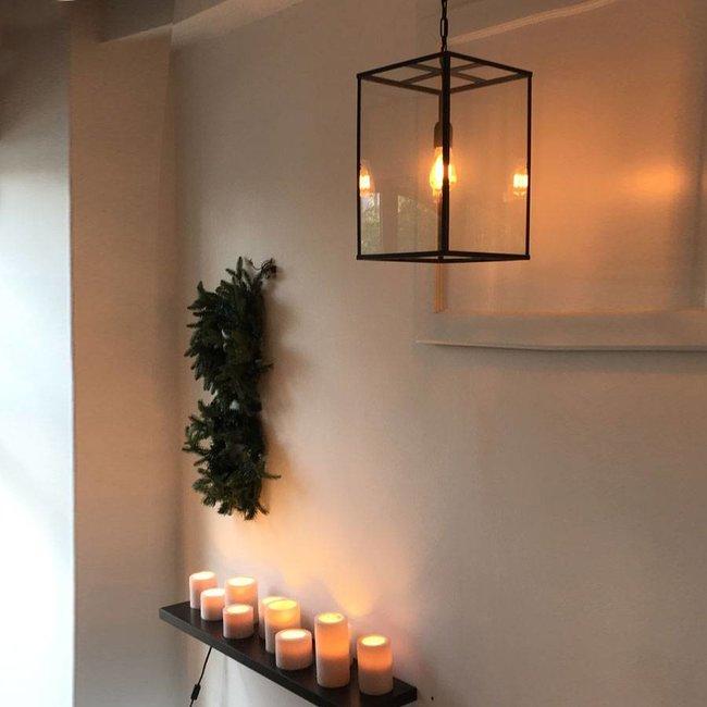 Lantaarn lamp binnen met glas en ketting E27