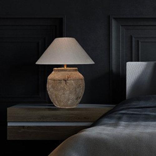 Vaaslamp keramiek met lampenkap landelijk 60cm H