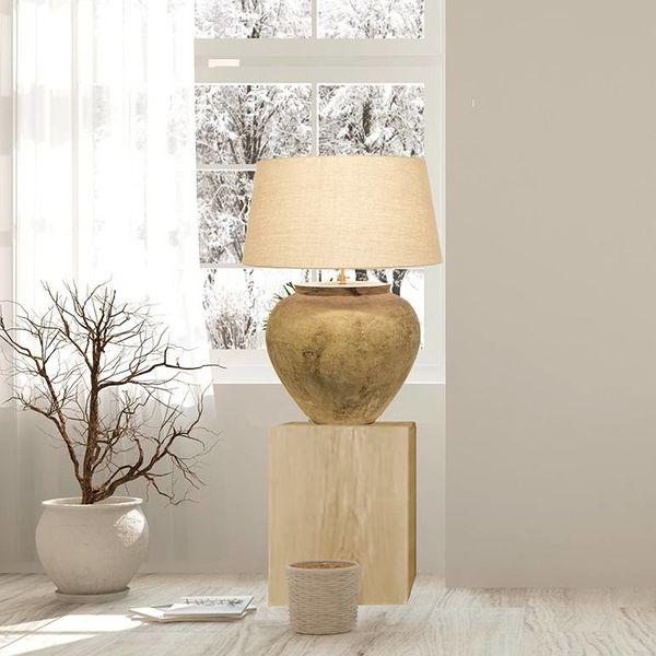 Lampe en céramique avec abat-jour en lin 90cm haut
