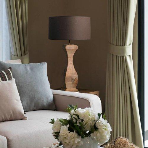 Houten tafellamp landelijk met kap 81 cm hoog