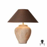 Tafellamp stenen voet met linnen kap 48cm hoog