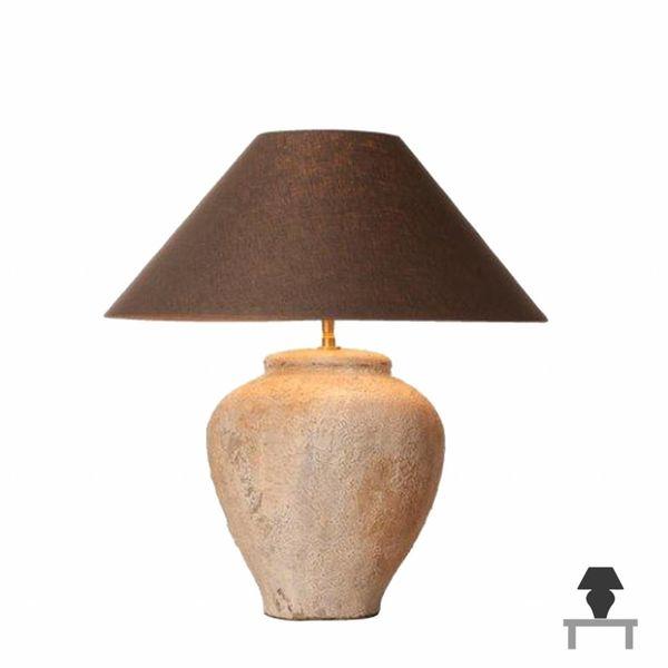 Lampe de chevet pied céramique avec abat-jour en lin
