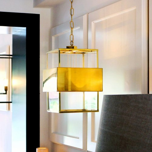 Glazen hanglamp vide brons, nikkel, chroom, messing