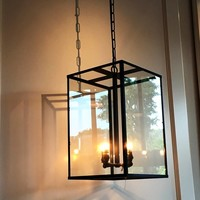 Hanglamp landelijk interieur glas brons, nikkel, chroom