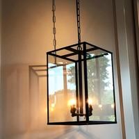 Lustre cosy campagnard chic lanterne bronze, nickel, chrome