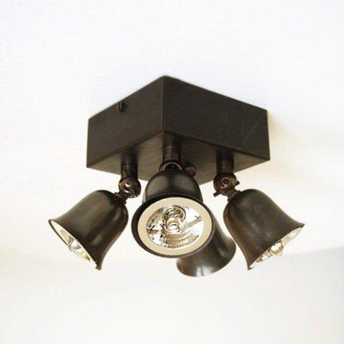 Plafondlamp 4 spotjes landelijk brons, chroom, nikkel