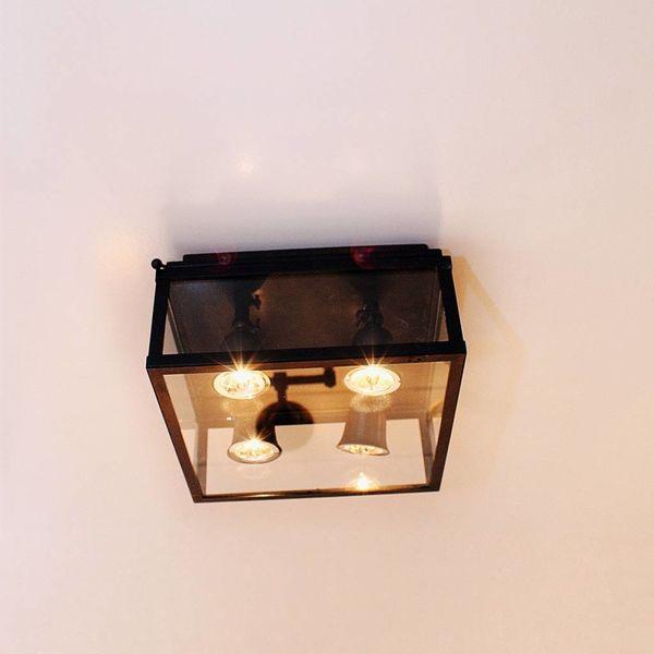 Glazen plafondlamp landelijk brons 4 spots