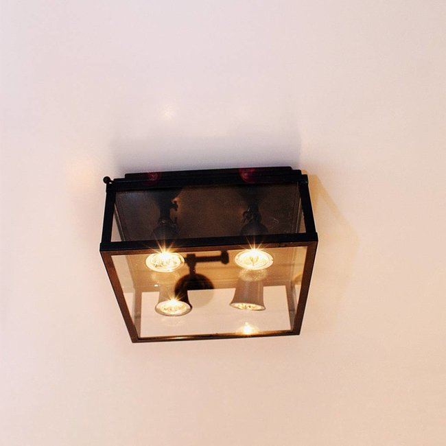 Plafonnier 4 spots rustique bronze verre